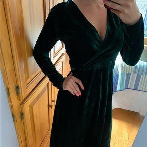 Lulu's Green Velvet Dress